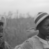 Negro day laborers employed in picking cotton at Lake Dick Project, Arkansas. Russell Lee, 1938.