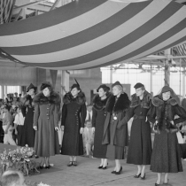 Style show of the opening of garment factory, Hightstown, New Jersey. 1936