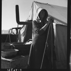Texas woman in carrot pullers' camp. Imperial Valley, California. This sunbonnet is typical of women who came from Texas. 1939