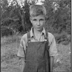 """Migratory boy in squatter camp. Has come to Yakima Valley for the third year to pick hops. Mother: """"You'd be surprised what that boy can pick."""" Washington, Yakima Valley. August, 1939."""