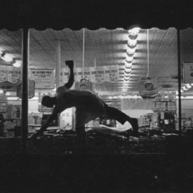 Untitled (man in grocery store window), 1950-60's