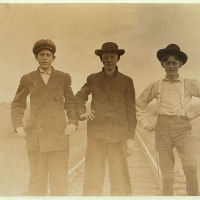 Types of adolescents. Boys working in Eureka Cotton Mills, Chester, S.C. Rob Dover--(Tallest boy). Been in mill eight or nine years. Melvin Reilly (next). In mill one year. Boyd McKowan (shortest boy). About 15 years old. Been in mill 5 years. Sunday, Nov. 29, 08. Witness Sara R. Hine. Chester, South Carolina. 1908