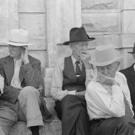 Farmers on steps of courthouse, Weatherford, Texas. 1939
