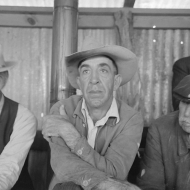 Spectators at stock auction at west Texas stockyards, San Angelo, Texas. 1940