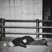 Body outside police department, 1945