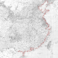 Map showing Zhang Xiao's travel along China's coastline for his project Coastline (2009-13). Courtesy the artist.