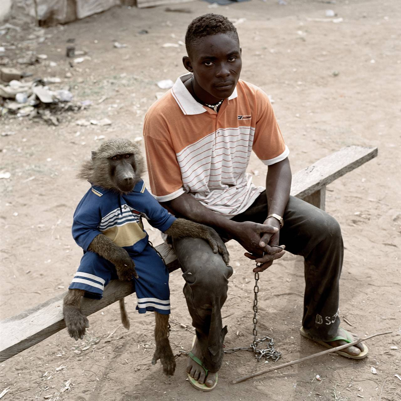 Dayaba_Usman_with_the_monkey_Clear_Nigeria_2005_plate_20_l