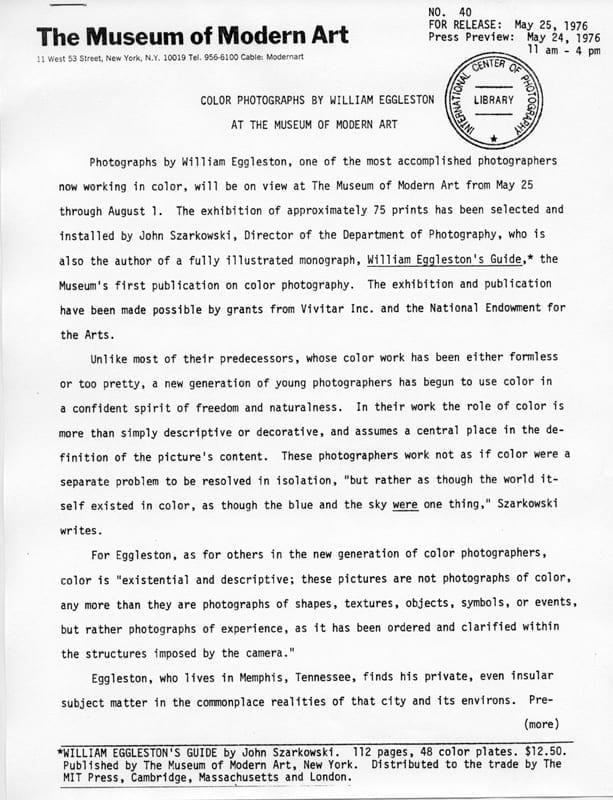 William Eggleston Ny Moma Press Release 1976 American